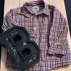 Children's Place Red Plaid Button Up - 18-24M
